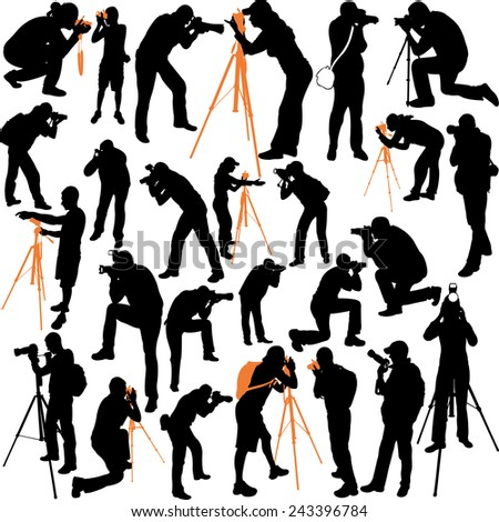 photographers big silhouettes collection - vector - stock vector