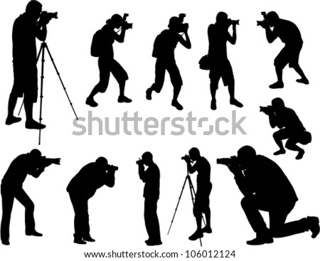 photographers silhouettes collection - stock vector