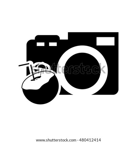 photographic camera and tropical cocktail icon