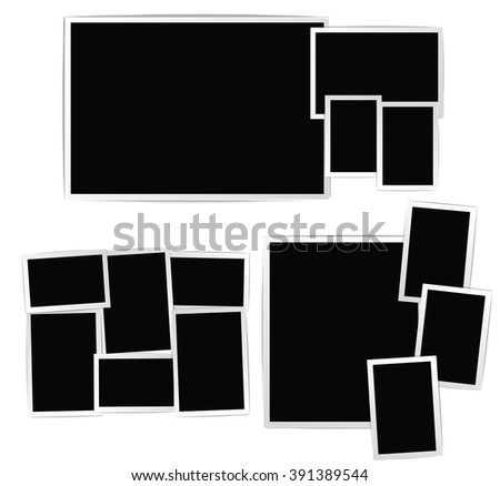 Photographic frames composition set on white. Photo album empty pages with frames. vector design template - stock vector