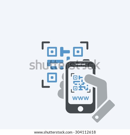 Photographing QR code - stock vector
