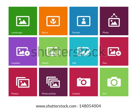 Photographs and Camera icons on color background. Vector illustration. - stock vector