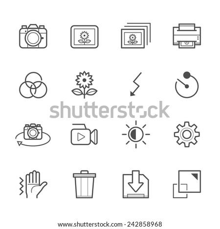 Photography and Camera Function Icons - stock vector
