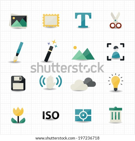 Photography and Camera Icons - stock vector