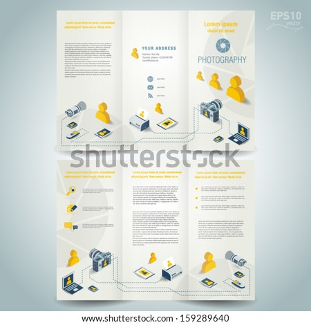 photography brochure design template vector photo camera professional element icons  - stock vector