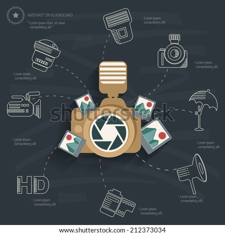 Photography concept on blackboard background,clean vector - stock vector