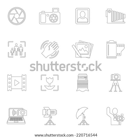 Photography equipment camera photo editing downloading icons outline isolated vector illustration - stock vector