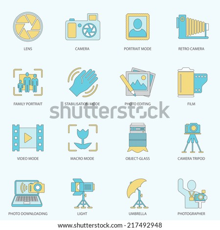 Photography equipment digital camera multimedia icons flat line isolated vector illustration - stock vector