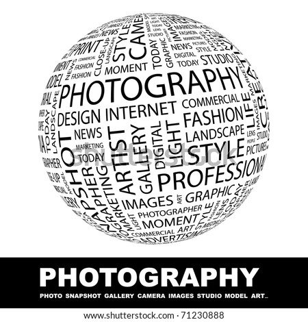 PHOTOGRAPHY. Globe with different association terms. Wordcloud vector illustration. - stock vector