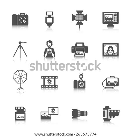 Photography icons black set with digital photo camera equipment isolated vector illustration - stock vector