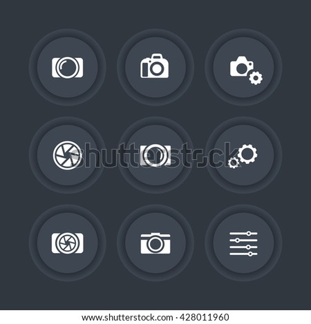 photography icons, camera, aperture, photography signs, camera pictograms, dark icons set, vector illustration - stock vector