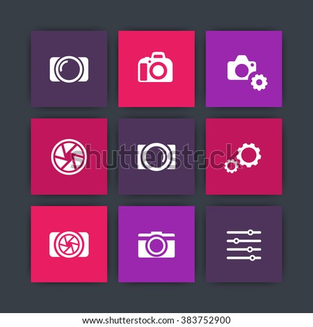photography icons, camera, aperture, photography store, camera pictograms, camera shop, icons set, vector illustration - stock vector