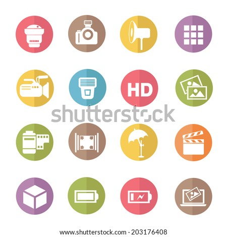 Photography icons,colors vector - stock vector