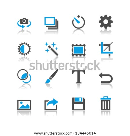 Photography icons reflection theme - stock vector