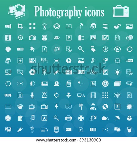 photography icons set - stock vector