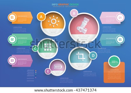 Photography info graphic design on blue background,vector - stock vector