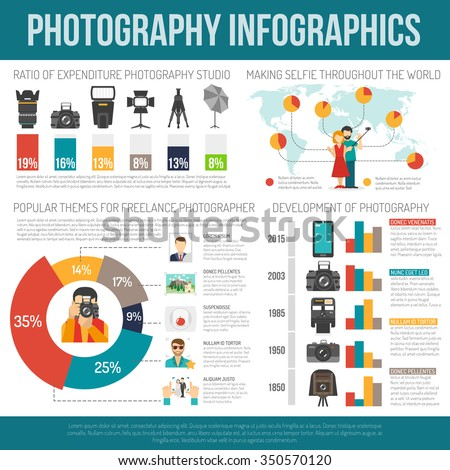 Photography infographic set with photo equipment symbols and charts vector illustration - stock vector