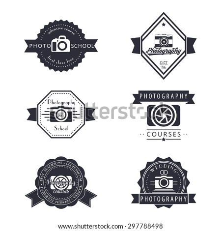 photography, photo school, photographer logo, emblems, signs, badges, vector illustration, eps10, easy to edit - stock vector