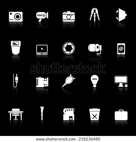 Photography related item icons with reflect on black background, stock vector - stock vector