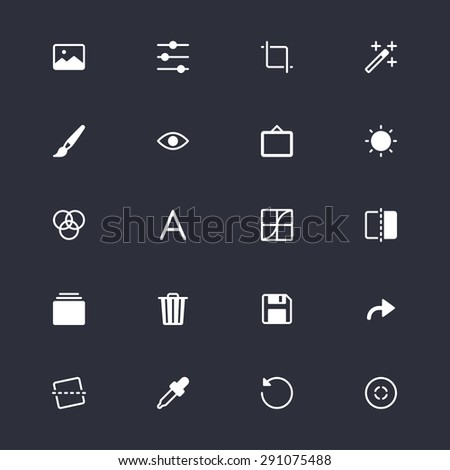 Photography simple icons - stock vector