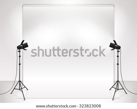 photography studio with lighting equipment and backdrop vector