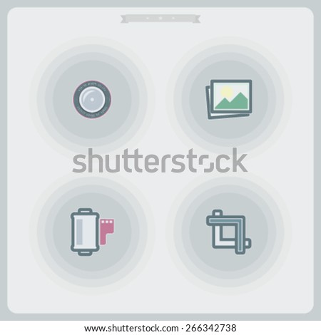 Photography tools & equipment icons set, pictured here from left to right - 