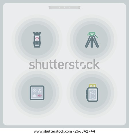 Photography tools & equipment icons set, pictured here from left to right - Camera lens, Tripod, Camera predefined program icons, Old fashion camera. - stock vector