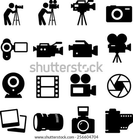 Photography, video and movie icon set.  Vector icons for digital and print projects. - stock vector