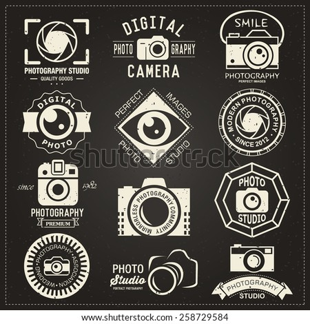 Photography vintage retro badges, labels and icons collection.  Vector photography logo templates and logotypes. - stock vector