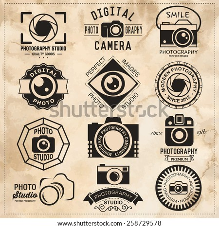Photography vintage retro badges, labels and icons set. Vector photography logo templates. - stock vector