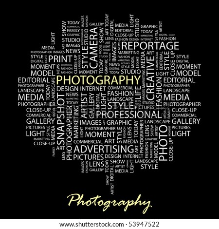 PHOTOGRAPHY. Word collage on black background. Vector illustration. - stock vector