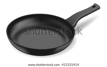 Photorealistic black frying pan - stock vector