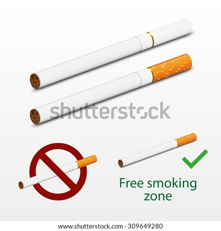 Photorealistic cigarettes vector. 3d imitation design. Including two cigarettes - white and brown, signs Free smoking and Don't Smoke. Cigarettes realistic imitation.