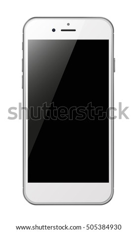 Photorealistic smart phone with black screen isolated on white background. Vector illustration. EPS10
