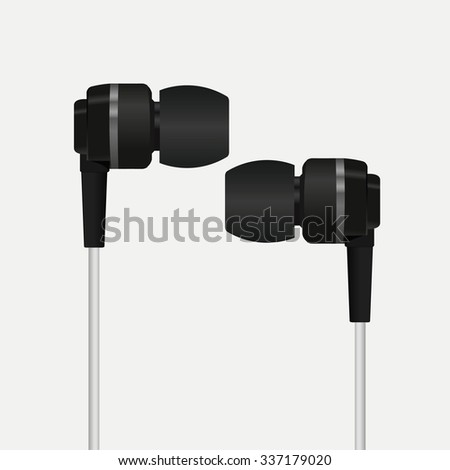 Photorealistic vacuum headphones. Vector illustration