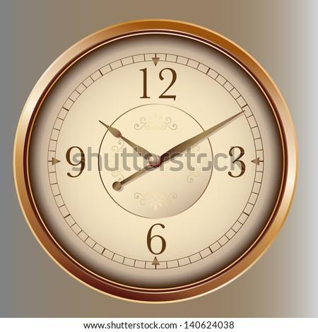 Photorealistic vector clock - stock vector