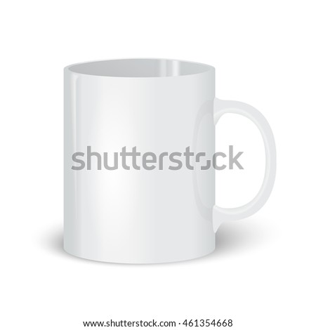 Photorealistic vector illustration of a white cups. White cup. Template with a white cup.