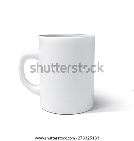 Photorealistic white cup. Vector illustration.