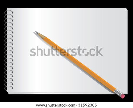 Photorealistic writing (sketching) spiral top  pad and pencil on black. - stock vector
