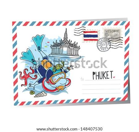 Phuket vector postcard - stock vector
