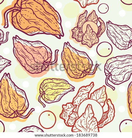 Physalis cartoon vector seamless pattern.