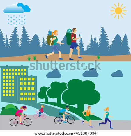 Physical activity people engaged in outdoor sports.Tourism and journey man and women.Flat design vector illustration - stock vector
