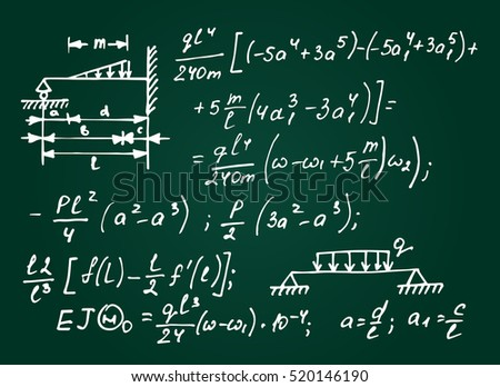 Physical equations on school board. Vector hand-drawn illustration. Education background.