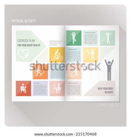 Physical exercise and health leaflet - stock vector