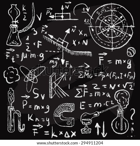 Physical formulas and phenomenons on chalkboard. Vintage hand drawn illustration - stock vector