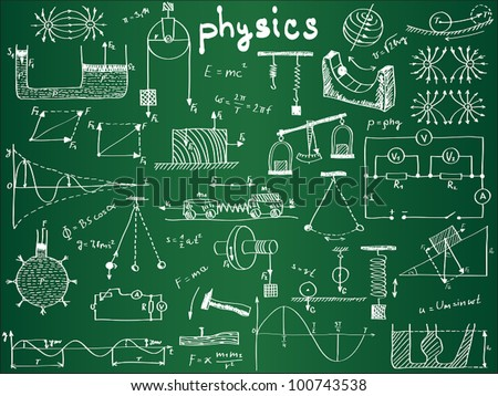Physical formulas and phenomenons on school board. hand-drawn illustration. physics doodles on chalkboard. science board with math. physics education at school. physics theory lesson. - stock vector