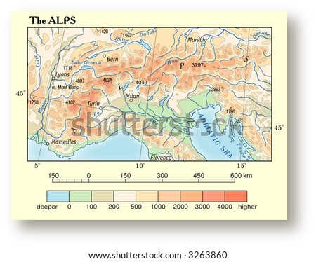 physical map europe alps