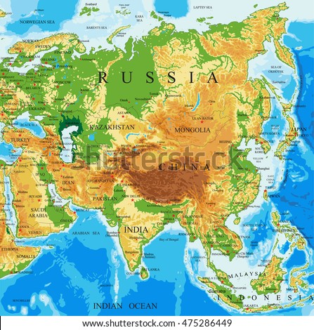 Physical Map Asia Stock Vector Shutterstock - Asia physical map