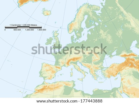 Physical map of europe with graticule and graphic scale. Elements of this image furnished by NASA - stock vector