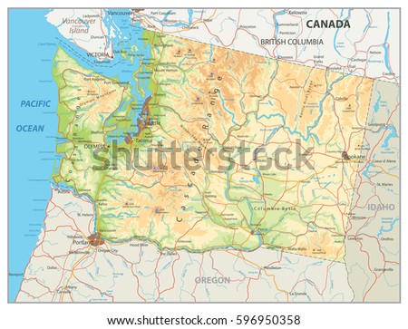 Washington State Map Colorful Map Pointers Stock Vector - Washington state map